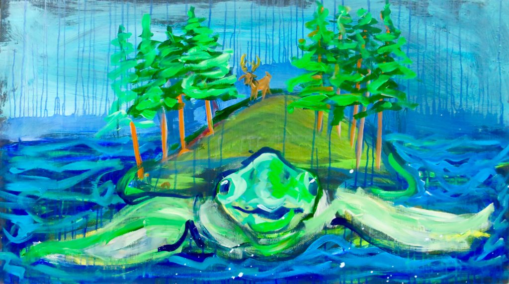 Turtle Island, one of my all-time favorite Charlie Frye paintings. It illustrates the Lakota myth about the creation of the world.