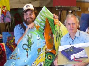 Charlie with some of the 30-plus paintings he created for the Lost Sea Expedition series on Rocky Mountain PBS, Amazon and Vimeo.