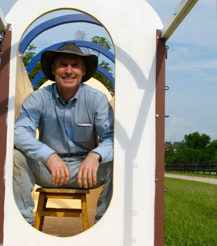 Me sitting in the wagon as I'm building it at my friend Mel Wyatt's farm in Southern Pines, North Carolina.