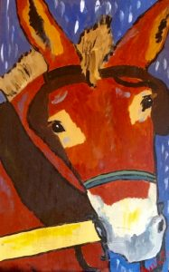 """Mule Polly"" by animal painter Julia Carpenter (acrylic on board)"