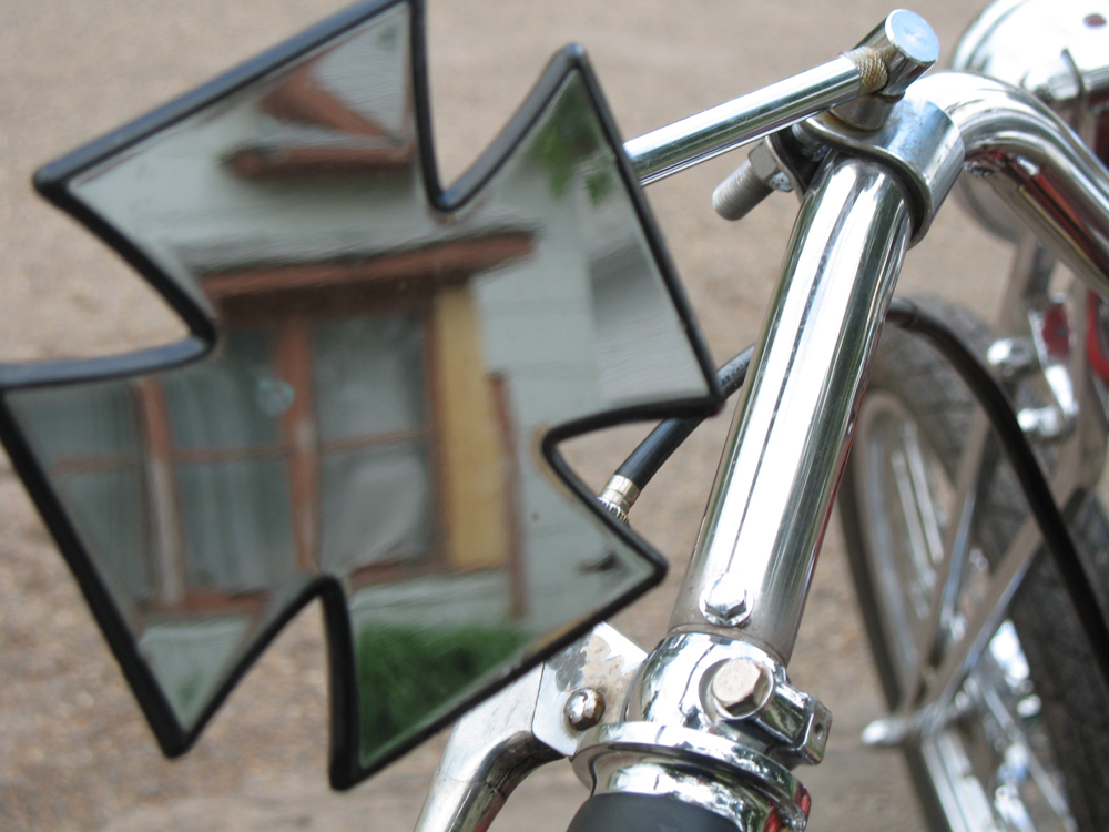 The mirror on Skip's chopper.