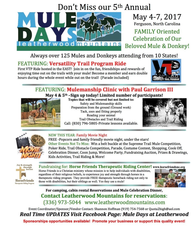 2017 Leatherwood Mule Days schedule. Events, like Lost Sea Expedition wagon tours, are being added to this document