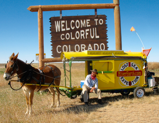 Bernie and his mule Polly on the Colorado state line.
