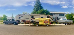 Mule Polly and an RV.